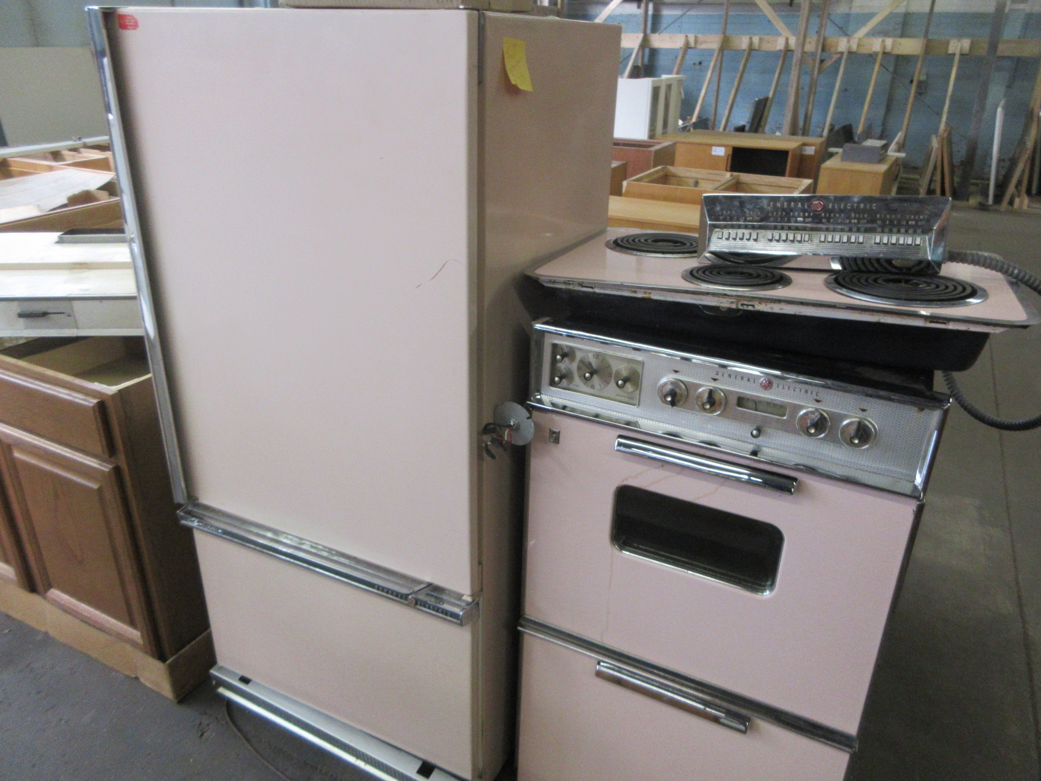 Pink set from 1950\'s - Double oven four-burner cook top electric range top  refridgerator (Sold As-Is)