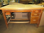 1960's Solid Wood Mid-Century Drafting Table w/ Adjustable Top & 3 Drawers