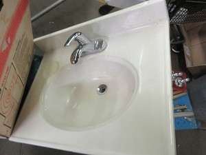 Cultured Marble sink top with faucet
