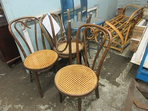 Wood caned chairs