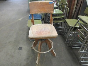Salvaged Solid Wood Swiveling Chair