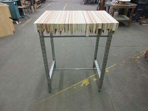 Custom wood top table w/metal base