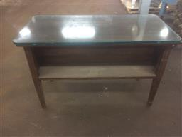 Wooden Desk w/ Built In Book Shelf and Glass Top