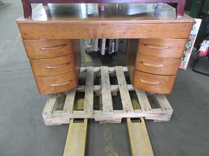 Wood Desk with Curved Drawers