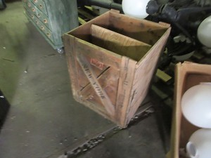 Wooden Crate- various country stamps